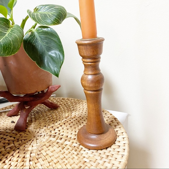 Wood Candlestick Holder Boho Eclectic Decor